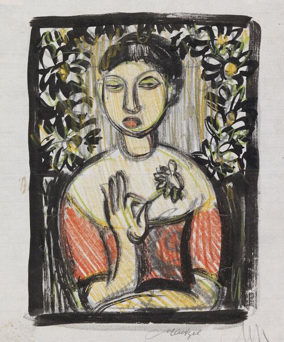 Emil Maetzel, Frau mit Blume