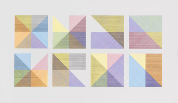Sol LeWitt, Eight Squares with a Different Color in Each Half Square (Divided Vertically and Horizontally) Composite