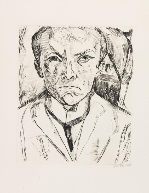 Max Beckmann, Selbstbildnis von vorn, im Hintergrund Hausgiebel