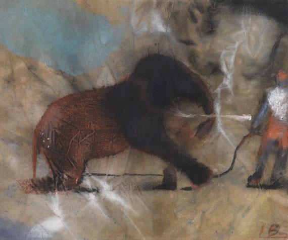"""Ignacio Burgos, Ohne Titel (""""Elefant und Dompteur"""")"""