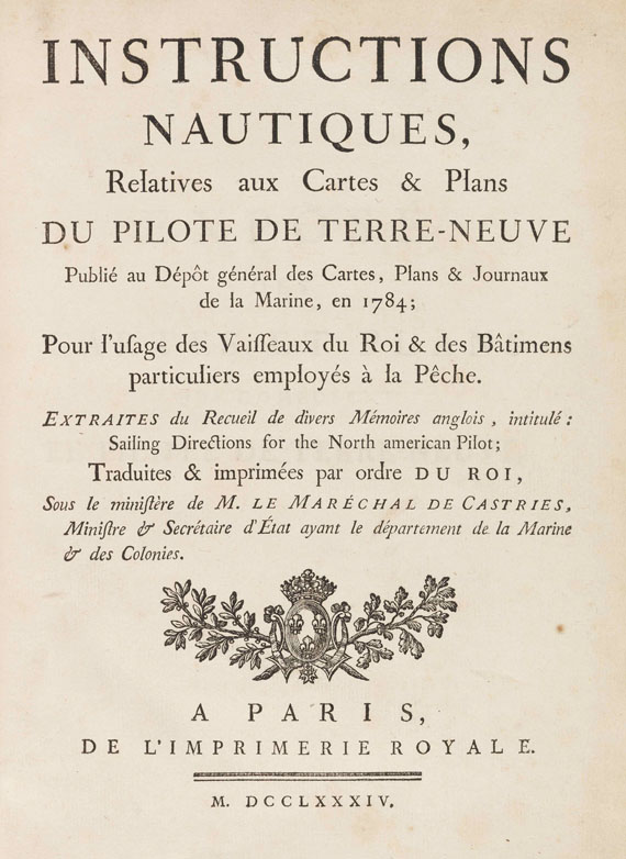 "James Cook - Le Pilote de Terre-Neuve. Atlas und Textbd. ""Instructions nautiques"", zus. 2 Bände"