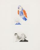 David Hockney - My mother with a parrot