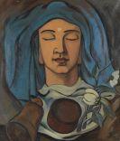 Ritschl, Otto - Kopf mit blauem Tuch