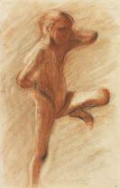 Paula Modersohn-Becker - Stehender Mädchenakt nach rechts, linkes Bein gegen die Wand gestützt