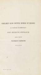 Nietzsche, Friedrich - Certamen quod dictur Homeri et Hesiodi. 2 Bände