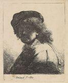 Harmensz. Rembrandt van Rijn - Selbstbildnis mit Kappe und Schal