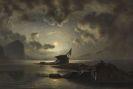 Knud Andreassen Baade - Schiffswrack bei Mondschein an der Küste