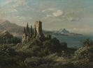 August Seidel - Italienische Küstenlandschaft mit Burgruine