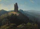 Ludwig Eduard Boll - Landschaft mit Künstlern vor einer Burgruine