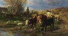 Braith, Anton - Hirtenmädchen mit Rindern, Schafen und Gänsen