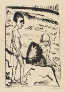 Erich Heckel - Am Stein (Zwei Mädchen am Meer)