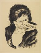 Munch, Edvard - Frauenkopf mit der Hand am Mund
