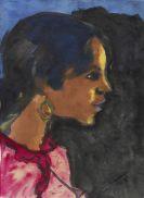Nolde, Emil - Zigeunermädchen in rot-violettem Kleid