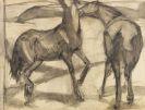 Franz Marc - Zwei Pferde. Verso: Zwei stehende Mädchenakte mit grünem Stein