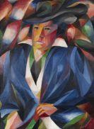 Heinrich Maria Davringhausen - Porträt Dame mit Hut (Porträt der Mutter mit Hut)