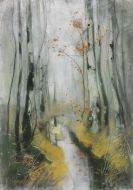 Hagemeister, Karl - Birken im Herbst am Bachlauf