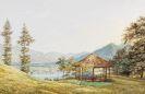 Heinrich Adam - Ansicht vom Tegernsee mit dem großen Paraplui