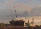 Anton Melbye - Fischerboote am Strand im Abendlicht