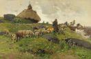 Hugo Mühlig - Schäfer mit Herde auf dem Heimweg