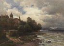 Paul Weber - Stürmischer Chiemsee mit Kloster Frauenwörth