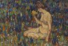 Christian Rohlfs - Frauenakt mit gelbem Blumenstrauß (Mädchen auf der Wiese)