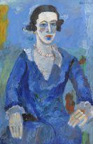 André Lanskoy - Portrait d'une dame en robe bleue