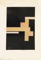 Walter Dexel - Entwurf zu II: Figuration in Weiß auf Schwarz mit zwei roten Quadraten