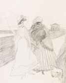 Lyonel Feininger - Two Women with Monkey