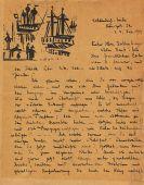 Lyonel Feininger - Handschriftlicher Brief an Dr. Mayer mit Holzschnitt