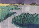 Emil Nolde - Marschlandschaft (Schilf am See, zwei Bauernhöfe)