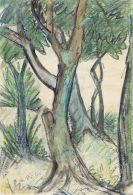 Otto Mueller - Wald/Landschaft mit Bäumen im Vordergrund