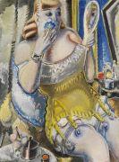 Paul Kleinschmidt - Dirne, sich pudernd, in gelbem Korsett