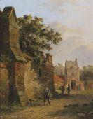 Adrianus Eversen - Figuren an einer Stadtmauer [Figuren bijeen stadtmuur]