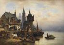 Wilhelm Meyerheim - Postkutsche im Pommerschen Hafen
