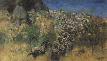 Wilhelm Kuhnert - Fliehende Zebraherde
