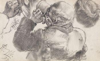 Adolph von Menzel - Studie eines biertrinkenden Mannes