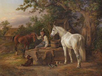 Albrecht Adam - Pferde an der Tränke