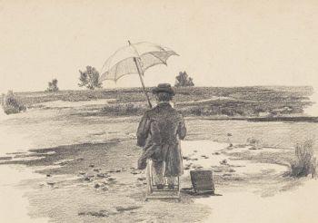 Süddeutsch - Maler unterm Sonnenschirm