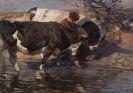 Heinrich von Zügel - Treiber mit zwei Rindern an der Furt
