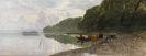 Richard von Poschinger - Uferlandschaft am Starnberger See mit weidenden Kühen