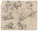 Adolph von Menzel - Figurenstudien: Nähende Frau, Liegender Mann, Junge Frau