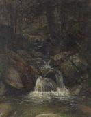 Gustav Friedrich Papperitz - Waldinneres mit Wasserfall