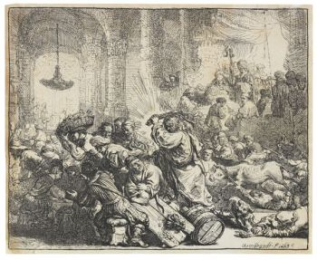 Harmenszoon Rembrandt van Rijn - Christus, die Händler aus dem Tempel treibend