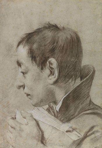 Giovanni Battista Piazzetta - (Umkreis) Porträtzeichnung Junge (Sohn des Künstlers?) mit Buch