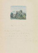 Hermann Hesse - Aquarell mit 2 eigh. Gedichten