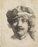 Harmenszoon Rembrandt van Rijn - Selbstbildnis mit Barett, von vorn gesehen