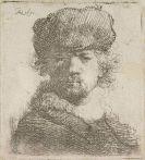 Harmensz. Rembrandt van Rijn - Selbstbildnis mit Pelzmütze