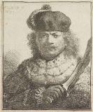 Harmenszoon Rembrandt van Rijn - Selbstbildnis mit erhobenem Säbel