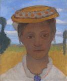 Paula Modersohn-Becker - Kopf der Schwester Herma mit Marienblümchenkranz auf dem Hut