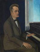 August Heitmüller - Porträt eines Mannes am Klavier